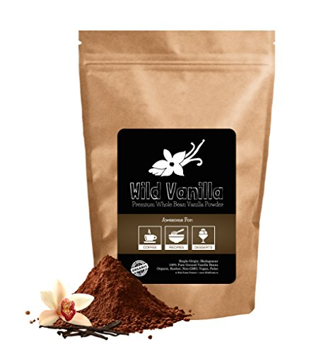 Vanilla Bean Powder, Organic Raw Vanilla Beans From Madagascar Ground into a Fine Powder, Wild Vanilla is Unsweet, Gluten-Free, Raw, Kosher, Non-GMO, Vegan, Paleo (1 ounce)