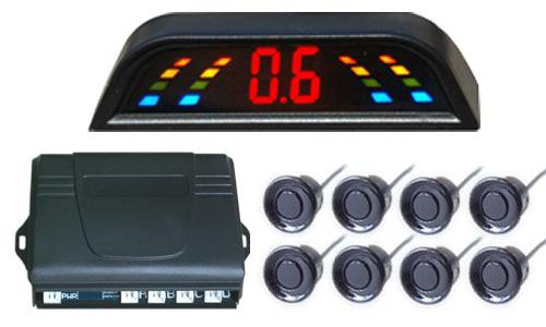 Led Display,Roof Mounted Led Display;Parking Sensor System With 8 Sensors(Front 4 Rear 4),Alarm Distance From 0.3M To 1.8,Left And Right Obstacle Indication,Car Reverse Backup Radar