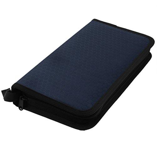 Polyester Cover Zipper Closure 72 Capacity CD DVD Holder Bag Case Blue