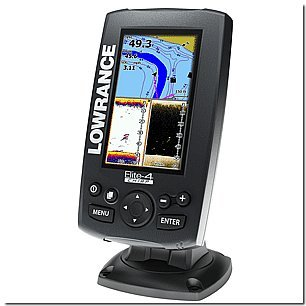 Lowrance Elite-4 CHIRP Color Combo Chartplotter and Fishfinder with combo 83/200 KHZ Wide Beam Fishfinder and 455/800 Down Imaging Transom Mount Transducer