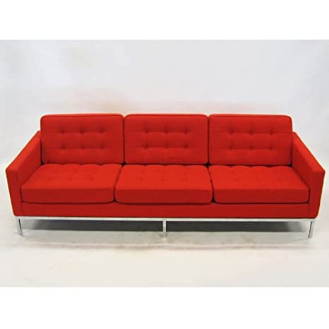 Fine Mod Imports Button Sofa in Wool in Red