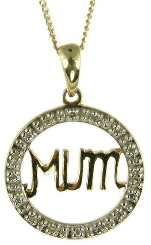 9ct Two-Colour Gold Ladies' Diamond Set Open Circle Mum Pendant with 46cm Curb Chain