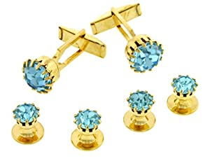 Gold plated and light blue crystal cufflinks and shirt stud formal set with presentation box. Made in the USA