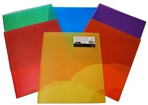 Filexec 3129, 2 Pocket Folder, Premium, Frosted, Letter Size, Set of 12, 6 Assorted Colors, 2 Ea Blueberry, Strawberry, Grape, Lime, Lemon, Tangerine