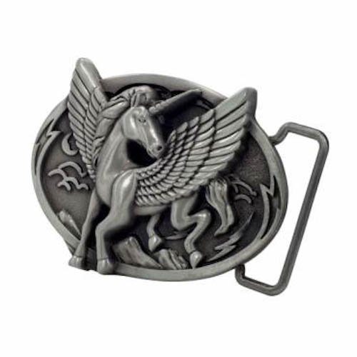 Silver Unicorn In Flight Belt Buckle Classic Cool Horse Belt Buckle Horse