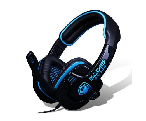 Versiontech Blue Sades Sa-708 Professional 3.5Mm Pc Gaming Stereo Headset Headphone Earphones With Microphone 40Mm Hifi Driver For Laptop Computer