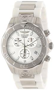 Invicta Caballero 12392 Pro Diver cron-grafo Silver Dial White Polyurethane and Stainless Steel Reloj