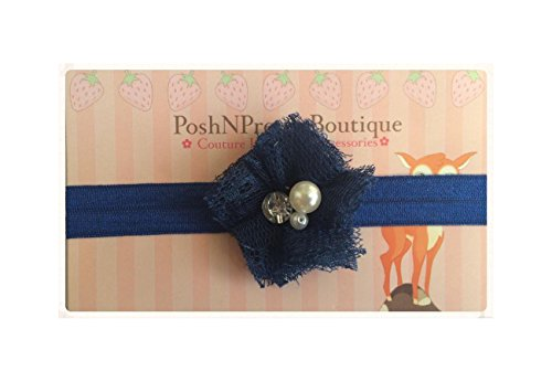 "2"" Mini Lace Blossom Pearl And Rhinestone Flower Baby Poshnpretty Headband - Navy"