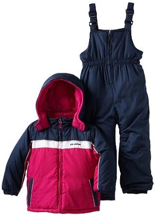 (2.7折)Pink Platinum Girls 2-6X Snowsuit女宝上衣背带裤 滑雪服 套装$30