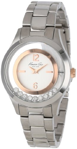 Kenneth Cole New York Women's KC4910 Transparency White Dial Rose Gold Details Floating Stones Watch