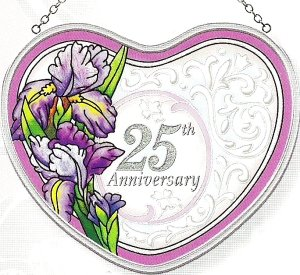 Amia Heart Shaped Handpainted Glass 25th Anniversary Suncatcher, 5-Inch by 4-1/2-Inch