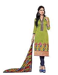 Women's Light Green & Dark Blue Chanderi Semi Stitched Salwar Suit