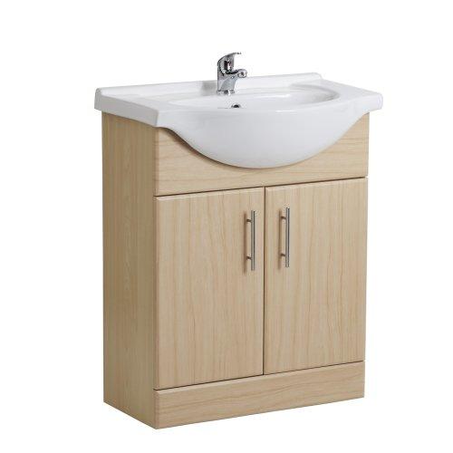 Trueshopping 650mm Rigid Beech Bathroom Vanity Unit Sink Basin Cloakroom Cabinet Funiture Storage Unit