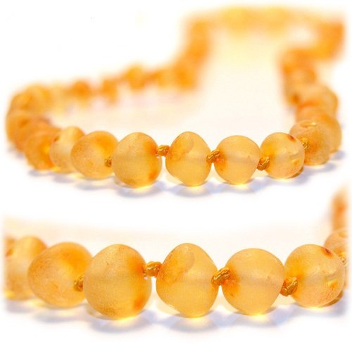 The Art of Cure Baltic Amber Teething Necklace 12.5 inch (Unisex) (Raw Butterscotch) - Anti-inflammatory, Drooling & Teething Pain Reduce Properties - 100% Authentic Certificated Baltic Jewelry with the Highest Quality Guaranteed. Easy to Fastens with a Twist-in Screw Clasp Mothers Approved Remedies! - 1