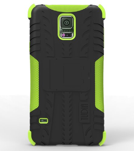 [Tyr-Hybrid] Tudia Samsung Galaxy S5 Case Dual Material Protective Bumper Case With Kickstand For Galaxy S5 / Galaxy Sv / Galaxy S V (2014) (Black/Green)