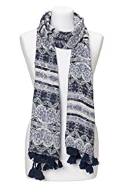 Indigo Collection Lightweight Tile Print Scarf