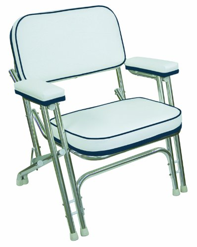 Wise Folding Deck Chair with Aluminum Frame, White/Navy primary