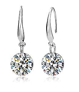 Celebrity Jewellery Ladies Sparkling 9MM Clear Cubic Zirconia Earrings White Gold Plated Silver Drop Earrings Blingbling 2014 New Fashion Hook Earrings For Women 361