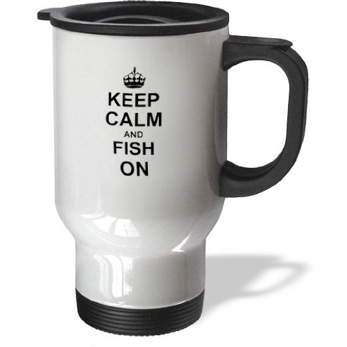 3Drose Keep Calm And Fish On-Carry On Fishing-Gifts For Fishermen Fisherman Travel Mug, 14-Ounce