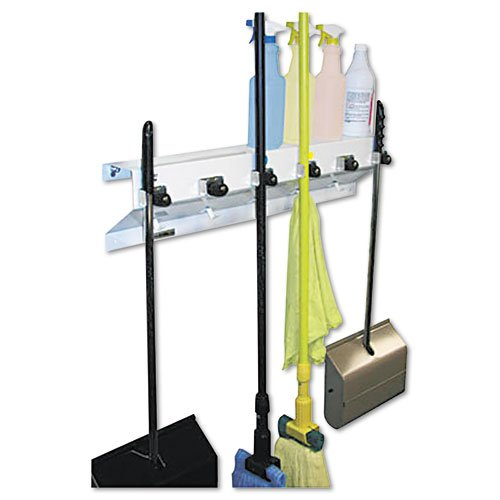 Ex-Cell – The Clincher Mop & Broom Holder, 34″w x 5.5″d x 7.5″h, White Gloss, Each – Sold As 1 Each – Sturdy, versatile holder provides superior organization of cleaning tools and products.