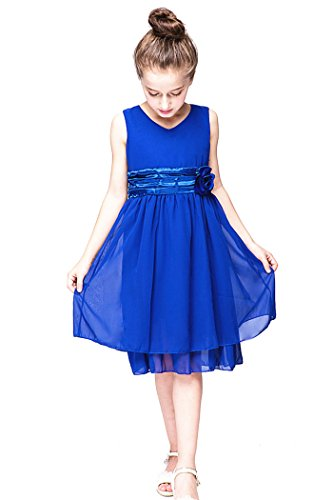 YMING Girls Flower Blue Chiffon Dress 7-8 Years (Mulan Blue Dress)