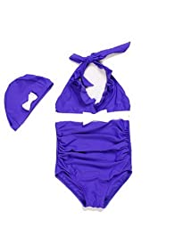 Purple Girls Swimwear Ruched One Piece with Cap for Kid 8T