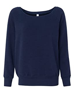 Bella Ladies Long Sleeve Wideneck Fleece - Navy Heather 7501 2XL