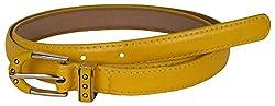 TUEUR Women's Synthetic Belt (TU-2020, Yellow, 30)