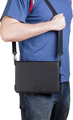 Cooper Casestm Magic Carry Samsung Galaxy Tab 4 10.1 Lte (T535) Tablet Folio Case W/ Shoulder Strap In Black (Premium Pleather Cover, Built-In Viewing Stand, Elastic Hand-Strap And Stylus Holder) front-403645