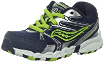 Saucony Boys Baby Cohesion Lace Running Shoe (Toddler),Navy/Lime/Silver,9 XW US Toddler