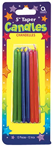Amscan - Multicolored Striped Taper Candles - 1