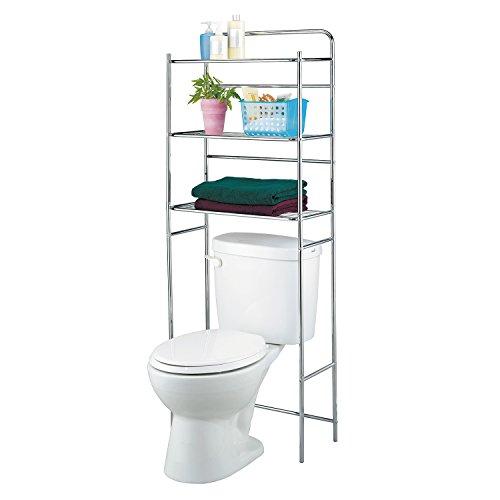 Closet shelves tanken 3 tier bathroom shelves unit over for Chrome bathroom shelving unit