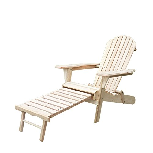 Summer Promotion Ainfox Foldable Wooden Adirondack Chair in Outdoor Furniture Beach Patio Deck Garden Seat with Leg Rest (Resin Stacking Adirondack Chair compare prices)