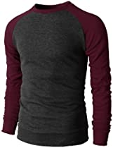 H2H Mens Raglan Thermal Crewneck T-Shirts With Long Sleeve Slim Fit CHARCOALWINE US XL/Asia 2XL (KMTSTL074)