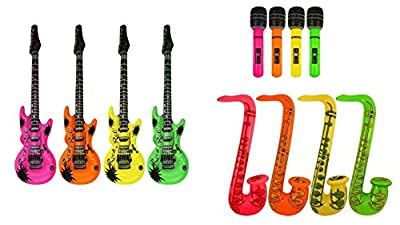 Inflatable Guitar, Saxophone,Microphone - 3 ASSORTED ITEMS