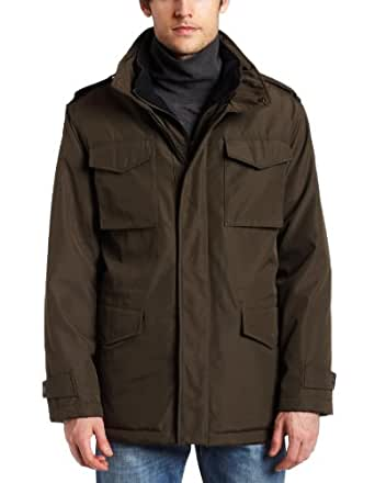 MICHAEL Michael Kors Mens Polyester Bonded Field Coat, Olive Branch, Medium