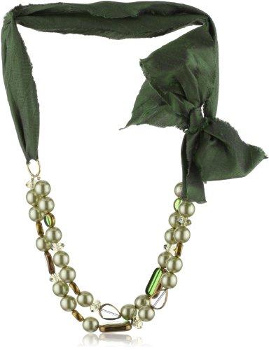"Sparkling Sage Green Antique Glass Pearls & Silk Dupioni Necklace, 22"""