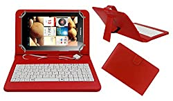 ACM PREMIUM USB KEYBOARD TABLET CASE HOLDER COVER FOR LENOVO IDEA PAD A2107 With Free MICRO USB OTG - RED
