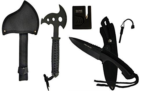 """Survival Kit : 8"""" Fixed Blade Knife w/ Belt Carry Case + Fire Starter + Sharpener + Stainless Steel 10.5"""""""