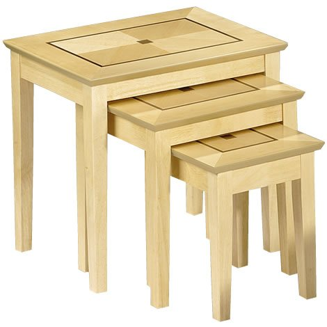 Living Room Nest of Tables x3 - Nested Maya Tables in Maple Wood -Small Tables