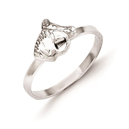925-Sterling-Silver-Rhodium-Plated-Polished-Textured-Kids-Horse-Head-Ring-Size-4