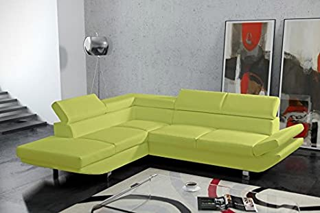 BELA large modern light green faux leather corner sofa couch living room furniture