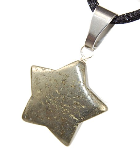 Pyrite Star : Positivity & Strength Charm Pendant, Natural Crystal Point Gemstone Collectibles 0.79