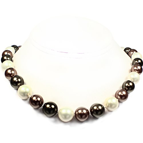Mother of Pearl Necklace - High Polished Dark Green, White & Brown (12mm)
