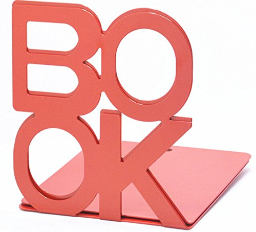 Fasmov Cute Nonskid Bookends Art Bookend,1Pair (Red)