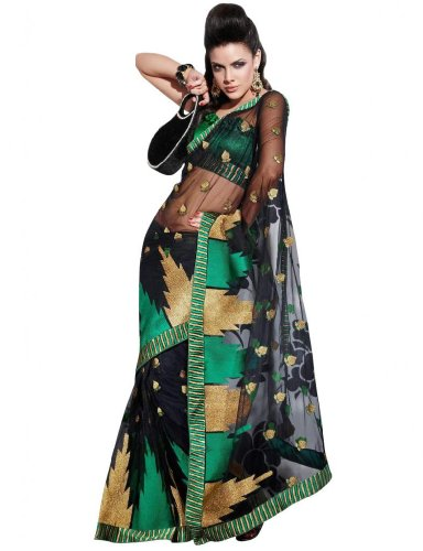 Hiba Synthetic Temple Embroidered Net Black Saree