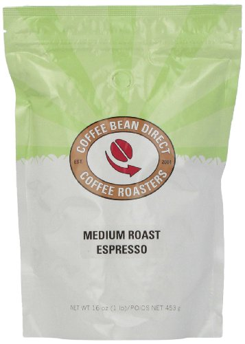 Coffee Bean Direct Medium Roast Espresso, Whole Bean Coffee, 16-Ounce Bags (Pack of 3)