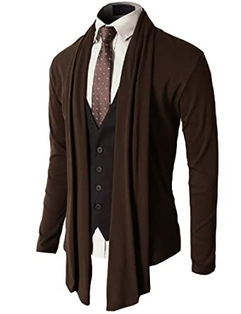 H2H Mens Fashion Shawl Cardigan with Shirring Neck Line BROWN Asia XL (JNSK37)