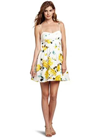 Trixxi Juniors Vintage Rose Print Dress, Ivory/Yellow, 3