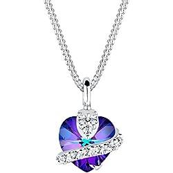 Elli Damen-Halskette Herz-mit Anhänger 925 Sterling Silber mit Kristallen von Swarovski Länge 45cm 0101610813_45